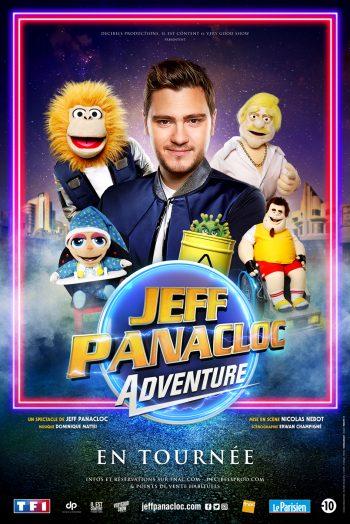 Affiche Jeff Panacloc Adventure tournée affiche spectacle humour marionette famille narbonne arena